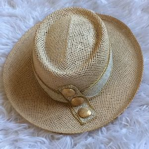 Cache straw hand woven hat with gold studs